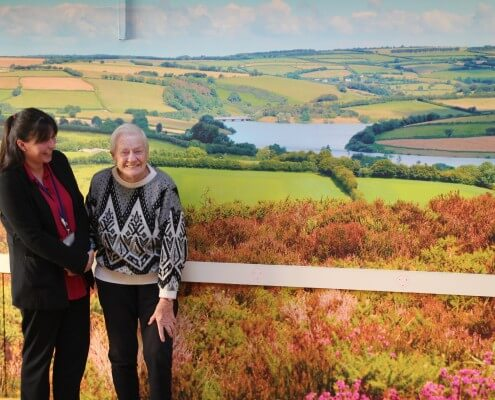 (L-R) Bonnie Frear deputy manager of Camelot House with resident Jean Lee_large